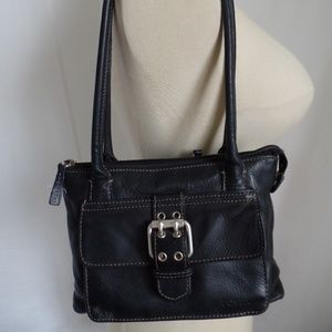 Fossil Black Leather Organizer Bag Purse